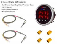 EGT DPG-SD Dual Channel Digital Pyrometer Gauge + Probe Kit