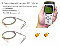 EGT Digital Pyrometer Gauge Kit - Handheld 2-Channel